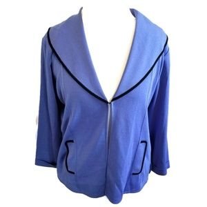 Exclusively Misook Blue Sweater Cardigan
